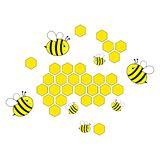Beautiful bees on honeycomb. Reproductive of bees. For different designer`s needs stock illustration