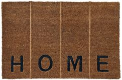 Beautiful Beige and black zute / coir Outdoor Door mat with `H O M E` text and vertical lines