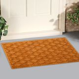 Beautiful Beige color zig-zag patterned Welcome zute doormat with border outside home with yellow flowers and leaves. Beautiful Beige color zig-zag patterned stock photos