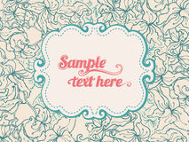 Beautiful  beige  floral background with frame Royalty Free Stock Photography