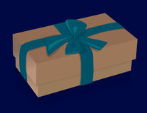 Beautiful beige gift box with purple bow on blue background Royalty Free Stock Photo