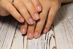 beautiful beige manicure Stock Photography