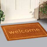 Beautiful beige Welcome zute doormat with Border outside home with yellow flowers and leaves royalty free stock image