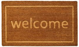 Beautiful beige Welcome zute doormat with Border. In White Background stock image