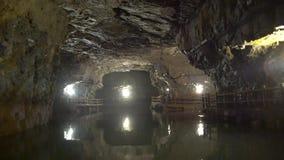The beautiful Beihai Tunnel. Interior view of the beautiful Beihai Tunnel, Nangan, Matsu, Taiwan stock video footage