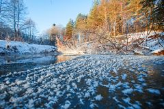Beautiful Belarusian river in winter. Frosty snowy river and lan stock images