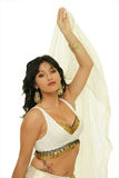 Beautiful belly dancer. Picture of the beautiful belly dancer on the white background Royalty Free Stock Images