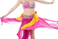 Beautiful belly dancer in action Royalty Free Stock Images