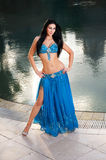 Beautiful Belly Dancer in Blue Costume Royalty Free Stock Photos