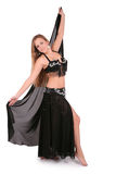 Beautiful belly dancer with long blond hair Royalty Free Stock Image