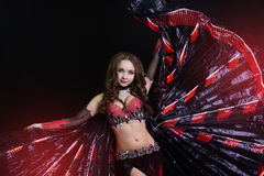 Beautiful belly dancer wearing a black costume Stock Images
