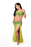 Beautiful Belly Dancer Wearing a Green Costume Stock Image