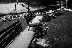 Black and white winter benches. Beautiful benches during cold winter Stock Image
