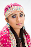 Beautiful Bengali bride. In colorful dress, isolated royalty free stock photos