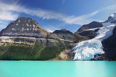 Berg Lake, Glacier Mount Robson Park, Canadian Rockies. Beautiful Berg Lake and glaciers, panoramic view. Mount Robson Provincial Park in the Canadian Rockies Royalty Free Stock Images
