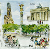 Beautiful Berlin city painting pattern on napkin Royalty Free Stock Photo