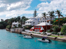 Beautiful Bermuda. View of waterfront homes in the town of Hamilton, Bermuda Stock Photography