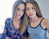 Beautiful best friend teen girls portrait. Indoor Stock Images