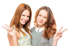 Beautiful best friends in dresses posing. On a white background royalty free stock photo