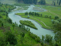 Beautiful Betab Valley landscape in Kashmir-2. An aerial view of a garden landscape in a valley of Kashmir Royalty Free Stock Image