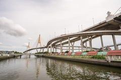 The Bhumibol bridge. This beautiful Bhumibol bridge is located in the capital of Thailand royalty free stock photos