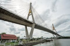 The Bhumibol bridge. This beautiful Bhumibol bridge is located in the capital of Thailand royalty free stock images
