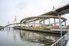 The Bhumibol bridge. This beautiful Bhumibol bridge is located in the capital of Thailand stock photos