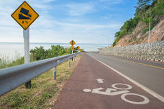 Beautiful of bicycle lane along the sea Stock Images