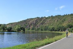 Bicycle path around river Vltava, Czech Republic royalty free stock photos