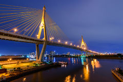 Beautiful Big Bhumibol Bridge / Big bridge at the river and lighting the bridge Royalty Free Stock Photos