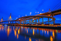 Beautiful Big Bhumibol Bridge Stock Photo
