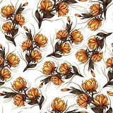 Beautiful Big blooming lily flowers botanical seamless pattern design for fashion,fabric,and all prints on retro orange background stock illustration