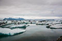 Beautiful big blue iceberg floating in Jokulsarlon glacial, Icel royalty free stock image