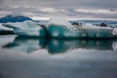 Beautiful big blue iceberg floating in Jokulsarlon glacial, Icel royalty free stock photography