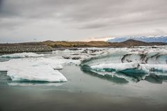Beautiful big blue iceberg floating in Jokulsarlon glacial, Icel royalty free stock photo