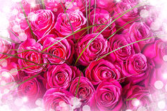 Beautiful big bouquet of pink roses Stock Photography