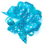 Big bow made of ribbon in polka dots. Beautiful big bow made of light blue ribbon in polka dots with shadow on white background Stock Image