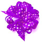 Big bow made of ribbon in polka dots. Beautiful big bow made of purple ribbon in polka dots with shadow on white background Stock Images