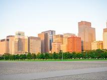 Beautiful big buildings in the Horizont in Hibiya park in Tokyo, Japan.  stock image