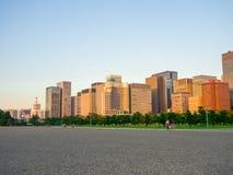 Beautiful big buildings in the Horizont in Hibiya park in Tokyo, Japan.  royalty free stock photos