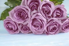 Beautiful big bunch of purple rose flowers royalty free stock image