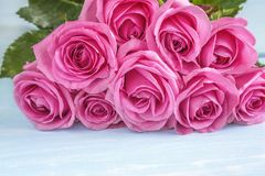 Beautiful big bunch of pink rose flowers stock photo