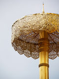 A beautiful big detail craft golden umbrella in Thai temple Royalty Free Stock Photo