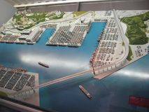Big model of Hong Kong container terminal in Hong Kong maritime museum stock photo