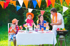 Beautiful big dutch family having grill party Royalty Free Stock Photos