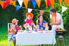 Beautiful big dutch family having grill party Royalty Free Stock Photos
