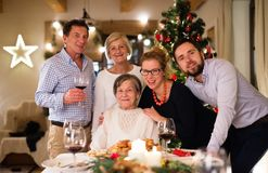 Beautiful Big Family Celebrating Christmas Together. Stock Photography