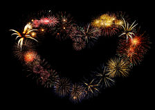 Beautiful big firework heart. Big beautiful valentine day greeting heart made of colourful fireworks Stock Images