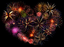Beautiful big firework heart. Big beautiful valentine day greeting heart made of colourful fireworks Stock Photography