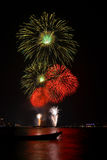 Beautiful Big Fireworks On The Beach. Of Thailand Royalty Free Stock Image